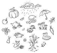 Autumn Clipart Set, Cartoon Vector Illustration, Hand-drawn