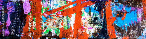 Montage in der Fensternische Graffiti Abstract art & multicolor paint; as a fun & inspirational background texture, with grunge patterns - in a wide and long panorama / banner / design.