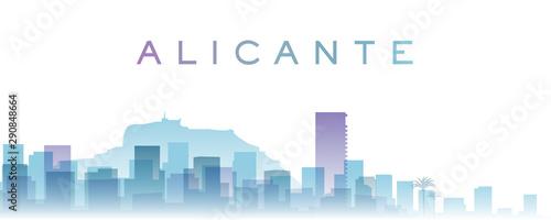 Alicante Transparent Layers Gradient Landmarks Skyline Wallpaper Mural