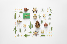 Flat Lay Composition With Christmas Items On White Background