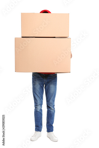 Obraz Courier with cardboard boxes on white background - fototapety do salonu