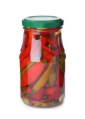 Glass jar with pickled chili peppers isolated on white