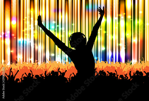Cheering crowd at the concert - vector illustration Fototapeta
