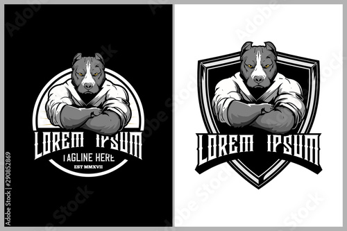 Fotografía pitbull martial arts athletes with kimono badge logo template