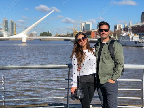Poster Buenos Aires Young couple in El Puente de la Mujer, Puerto Madero, Buenos Aires, Argentina