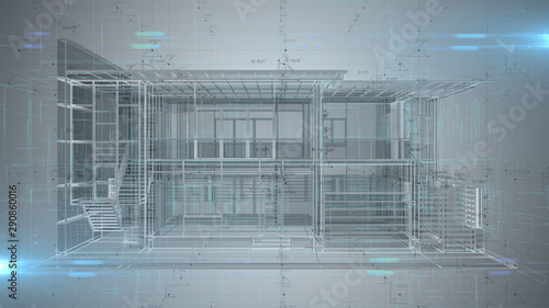 Fotografie, Obraz  3D engineering design of house Architecture blueprint - illustration rendering