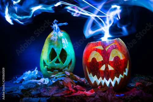 luminous pumpkins in the dark for the autumn Halloween holiday Canvas Print