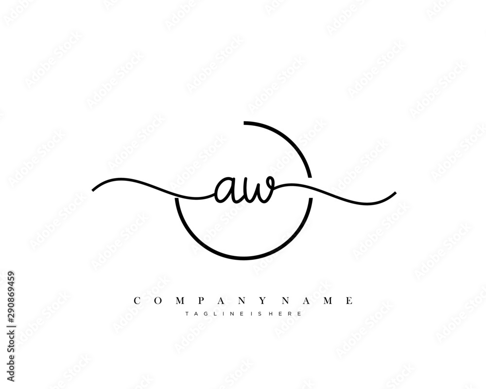 Fototapety, obrazy: AW initial handwriting logo template vector.