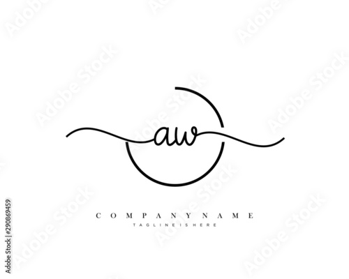 AW initial handwriting logo template vector.