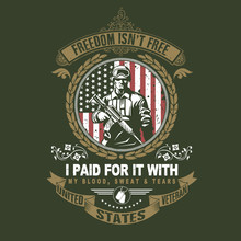 America Veteran Day, Memorial Day, Independence Day, Usa Flag Artwork With Soldier And Gun On American Flag Good For Poster, T-shirt, Element, Etc. Eps File Editable Layer Vector Graphic