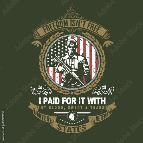 dzień weterana ameryki, dzień pamięci, dzień niepodległości, grafika flagi usa z żołnierzem i pistolet na amerykańskiej flagi dobre na plakat, koszulka, element itp. plik eps warstwa edytowalna grafika wektorowa