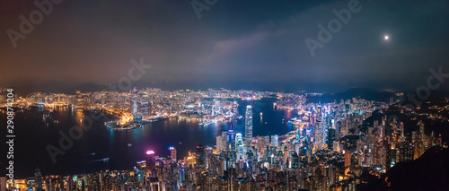 Victoria Harbour, Center of Hong Kong cityscape at night Wallpaper Mural