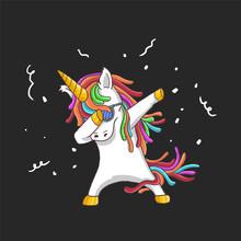 Cute Unicorn Cool Dance Illustration Vector