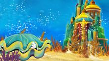 Cartoon Underwater Sea Or Ocean Scene With Castle - Illustration For Children