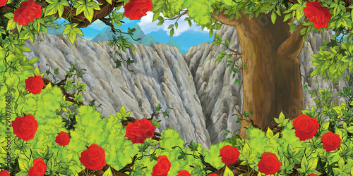 cartoon scene with mountain valley near the forest and bush of roses with nobody on the stage - illustration for children - 290878663