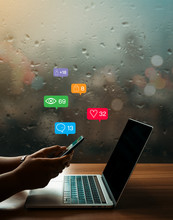 On A Rainy Day A Businesswoman Using Smartphone For Share Information Online With Social Media Concept, Business Concept. Design With Copy Space.