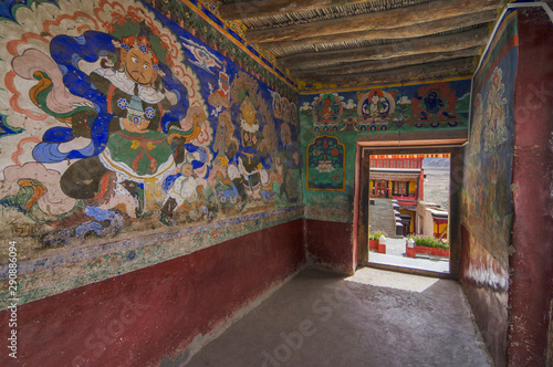 Staande foto Nepal Paintings on the wall at Thiksey Monastery or Thiksey Gompa passage, Ladakh, India