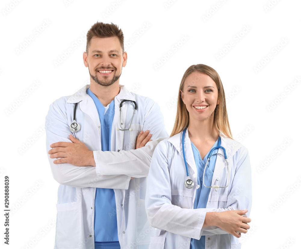 Fototapety, obrazy: Male and female doctors on white background