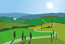 Landscape With Mountains And Hills. Tuscany, Outdoor Recreation Background.