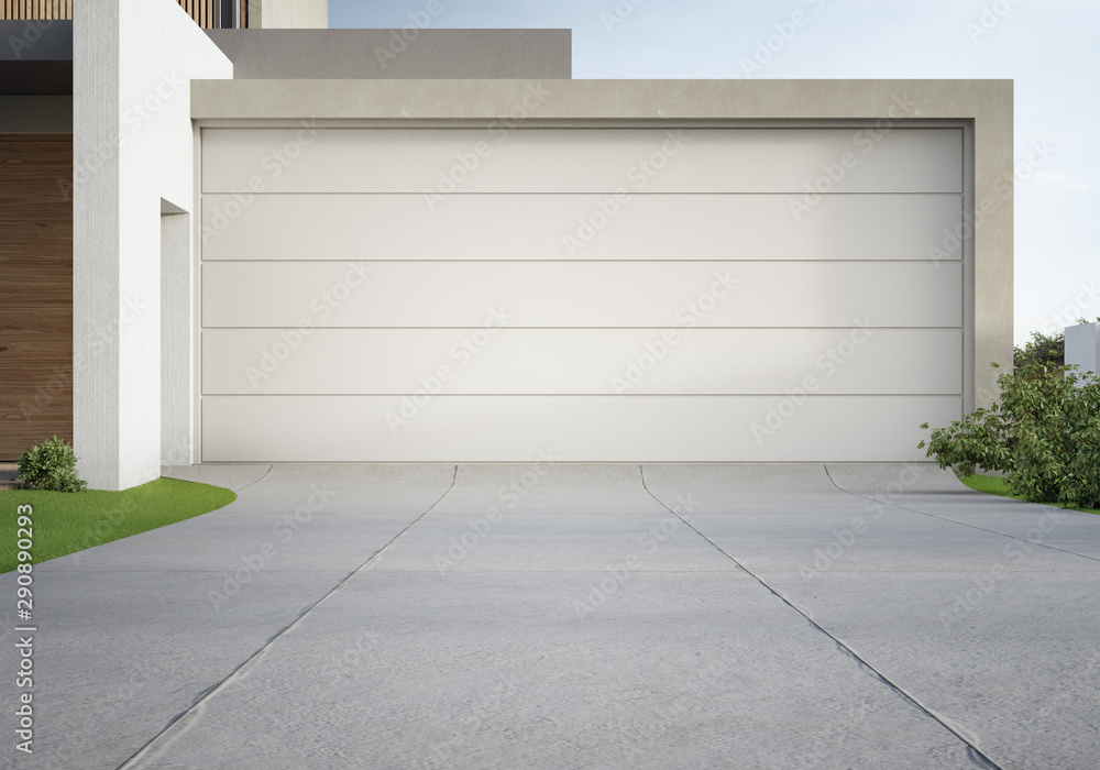 Fototapety, obrazy: Modern house and big garage with concrete driveway. 3d illustration of residential building exterior.