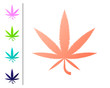 Coral Medical marijuana or cannabis leaf icon isolated on white background. Hemp symbol. Set color icons. Vector Illustration