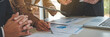 Leinwanddruck Bild - Administrator business man financial inspector and secretary making report calculating balance. Internal Revenue Service checking document. business concept