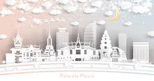 Phnom Penh Cambodia City Skyline In Paper Cut Style With Snowflakes, Moon And Neon Garland.