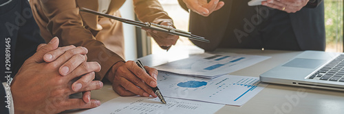 Obraz Administrator business man financial inspector and secretary making report calculating balance. Internal Revenue Service checking document. business concept - fototapety do salonu