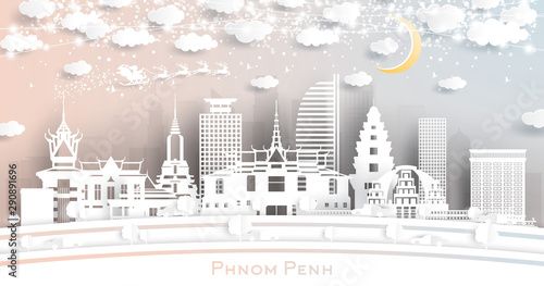 Phnom Penh Cambodia City Skyline in Paper Cut Style with Snowflakes, Moon and Neon Garland Fototapete