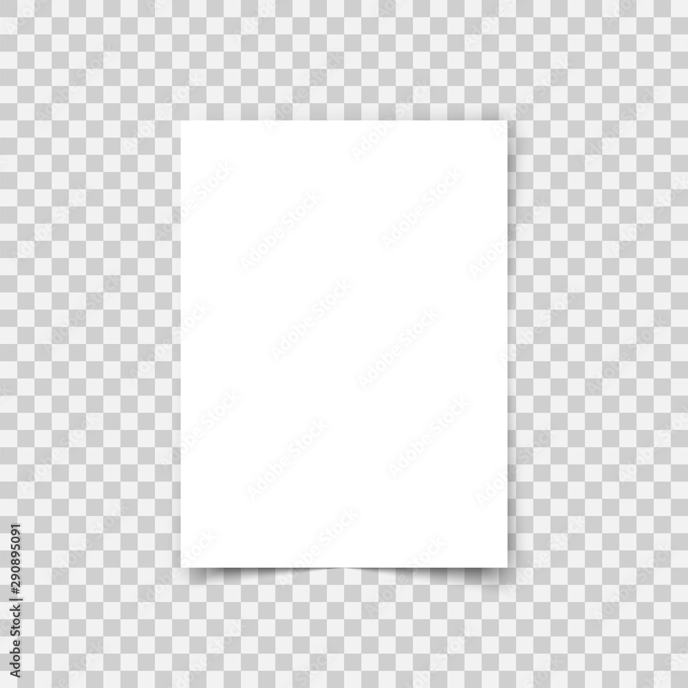 Fototapety, obrazy: Vector sheet paper A4 format with shadows. White realistic blank paper page. Mock up design leaflet or banner template on transparent background.