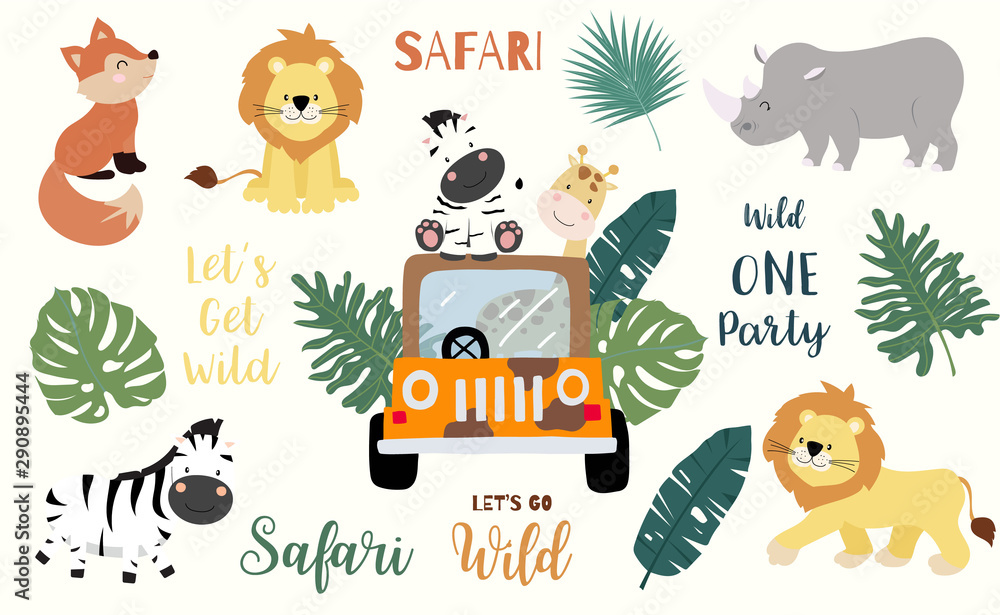 Fototapeta Safari object set with fox,giraffe,zebra,lion,leaves,car. illustration for logo,sticker,postcard,birthday invitation.Editable element