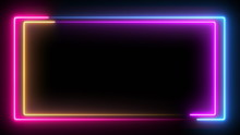 Computer Generated Color Animation. 3D Rendering Neon Frame Of Blue And Pink Colors On A Black Background