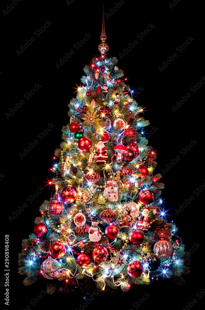 Fototapety, obrazy: Beautiful Christmas tree on a black background. new year concept