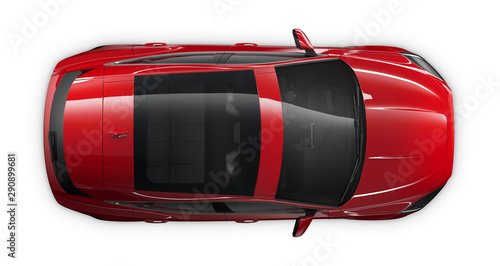 Poster Individuel Red SUV car - top view