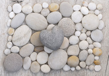 Simple Grey Heart On Pebble Ba...
