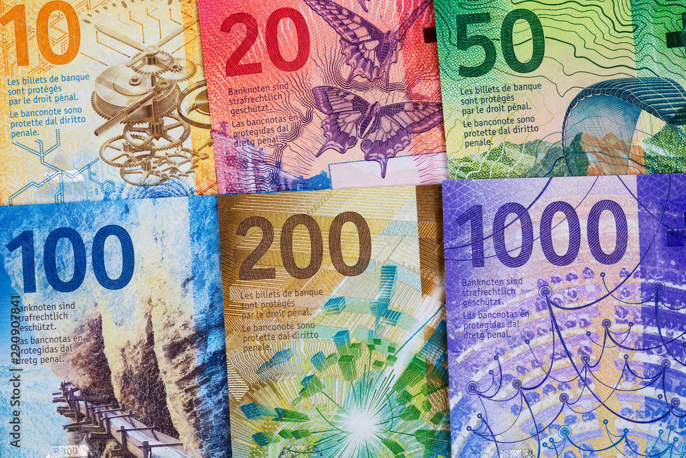 Fototapeta Swiss Francs, a business background with full set of new series Francs