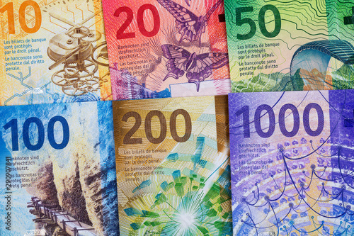 Fotografía  Swiss Francs, a business background with full set of new series Francs