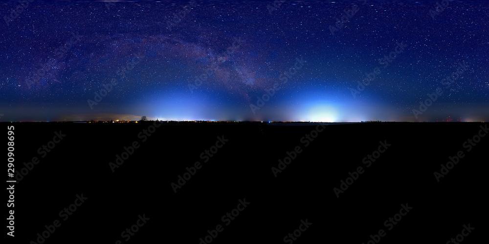 Fototapeta night sky panorama 360° with milky way