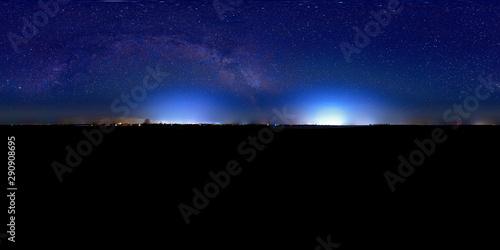 Foto auf Leinwand Schwarz night sky panorama 360° with milky way