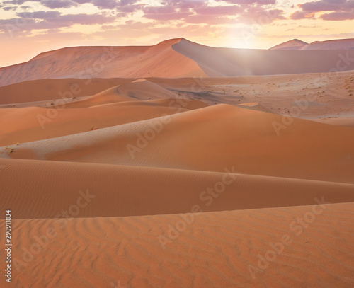 Sunrise view sand dunes in the Namib Desert at Sossusvlei, Namibia.