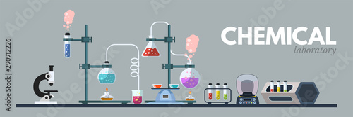 Chemical lab equipment flat vector illustration Canvas Print