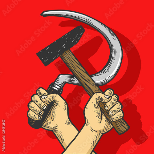 Valokuvatapetti Hand with hammer and sickle on red background sketch engraving vector illustration