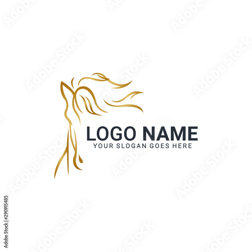 Fototapeta Modern gold abstract horse logo design. Animal logo design obraz