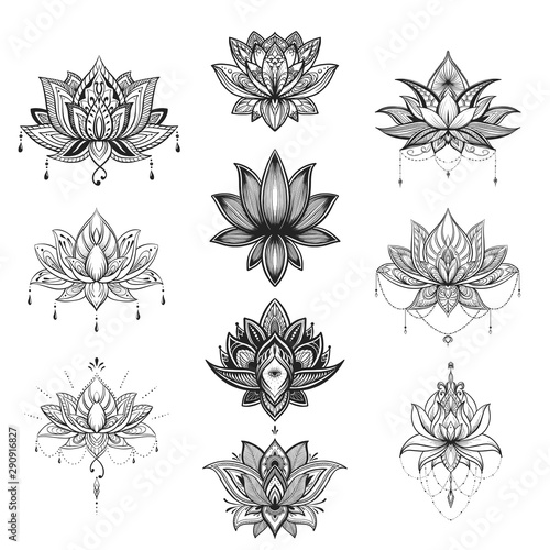 Fotografia  Filigree lotus flower set, vector handdrawn illustration