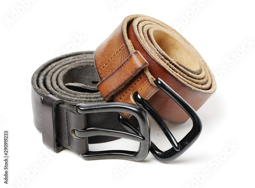 Canvas-taulu Leather Belt on a white background. Opening, fastener.
