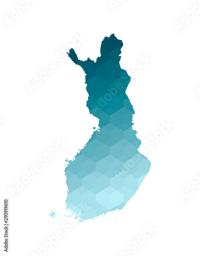 Photo Vector isolated illustration icon with simplified blue silhouette of Finland map