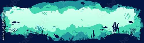 Poster Vert corail Silhouette of fish and algae on the background of reefs. Underwater ocean scene. Deep blue water, coral reef and underwater plants. a beautiful underwater scene; a vector seascape with reef.