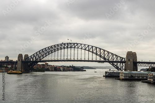 View of Sydney Harbour Bridge on a cloudy day. Sydney, Australia, 2019.