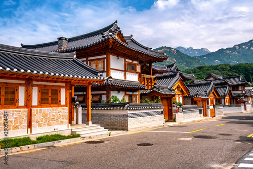 Wall Murals Old building eunpyeong hanok village at seoul south korea