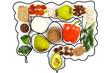 Leinwanddruck Bild - Food for bowel Health. Isolate on a white background